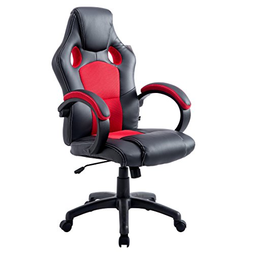 Cherry Tree Furniture Sport Racing Gaming PU Leather & Fabric Swivel Office Chair ()