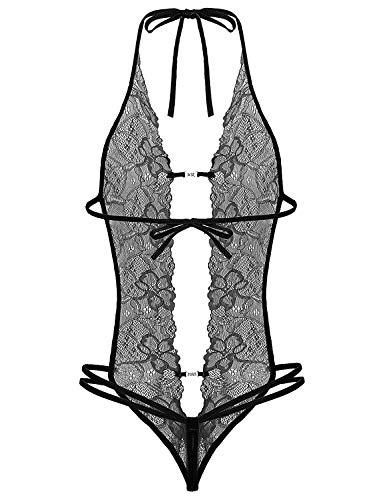 Lziizl Women Crotchless Lingerie Bodysuit Lace Babydoll Teddy Honeymoon Lingerie Black M ()
