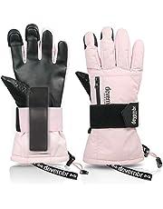 Ski Gloves Men & Women, devembr Waterproof Snowboard Gloves with Detachable Wrist Guards & 3M Thinsulate Insulation, Snow Gloves with Durable PU Material, Touch Screen, Anti-Slip, Unisex (XS/S/M/L)
