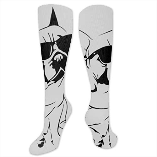XiaoShuia Ash Frenchie French Bulldog Compression Socks for Women & Men-Over The Knee Socks Best for Running, Athletic, Medical, Pregnancy and Travel ()