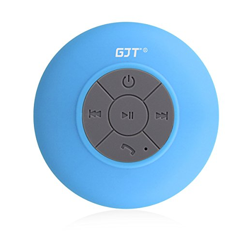 GJTWireless Bluetooth Waterproof Shower Speaker: 3.0 Speaker, Mini Water Resistant Wireless Shower Speaker, Handsfree Portable Speakerphone with Built-in Mic, 6hrs of playtime, Control Buttons and Ded