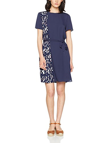 Tommy Hilfiger Nalise Pleated Dress Ss, Vestido para Mujer, Multicolor (Hatty Prt Peacoat / Solid Peacoat), 32 (Talla del Fabricante: 2)