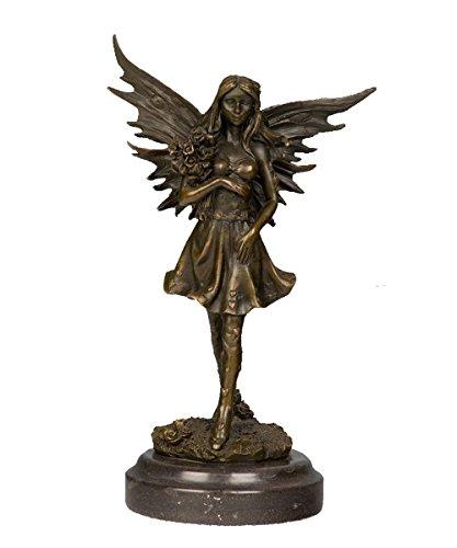 (Toperkin Statue Signed Original Patou Angel Love Holding Bouquet Roses Bronze Sculpture TPY-644)