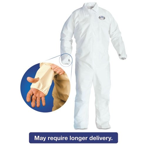 KleenGuard* A40 Breathable Back Coverall with Thumb Hole, White/Blue, Large, 25/Carton