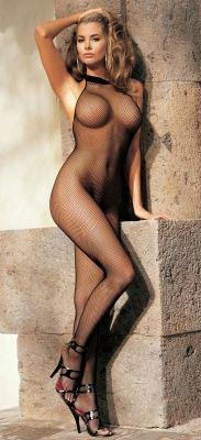 Bodystocking Womens Halter - Fishnet and Lace Halter-Top Body Stocking