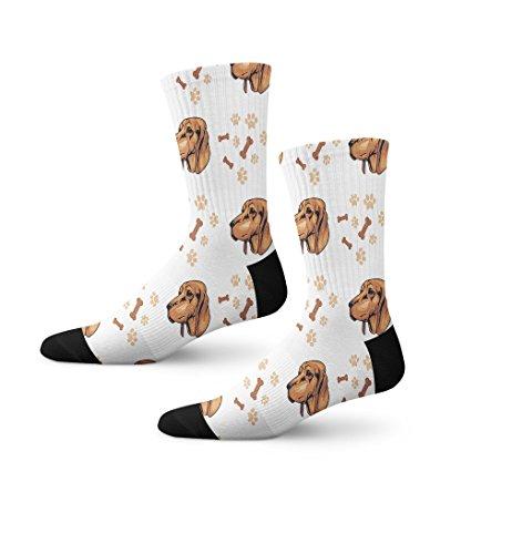 Redbone Coonhound Dog Breed Novelty Cuff Crew Men Women Socks - Breed Coonhound Dog