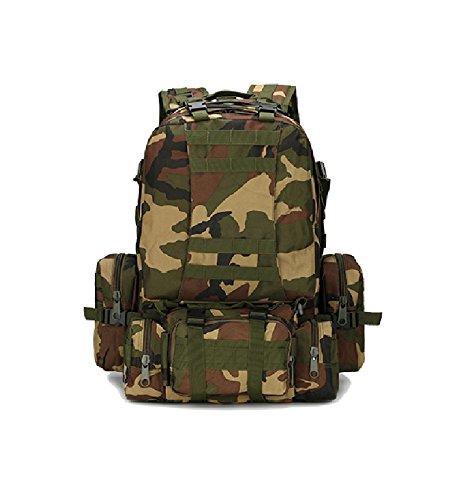 Z&N Backpack Ventiladores militares camuflaje paño impermeable de Oxford morral militar mochila táctica bolso de los hombres que acampa mochila al aire libre caminando mochila de la combinaciónD56L H