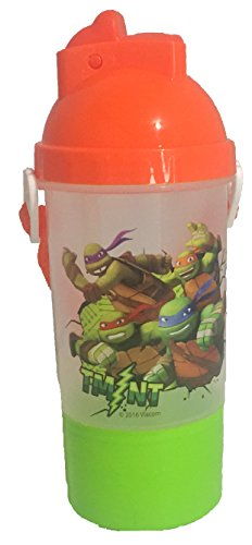 Teenage Mutant Ninja Turtles Water Bottle - Teenage Mutant Ninja Turtles Rock N Sip N Snack Canteen Water Bottle with Removable and Adjustable Lanyard - (Orange and Green - TMNT) (Ninja Turtles Ps4 compare prices)