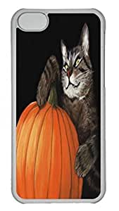 Tranparent PC Case Cover For iPhone 5C Durable Hard Plastic Cellphone Back Shell Skin For iPhone 5C with Halloween Cat Poster