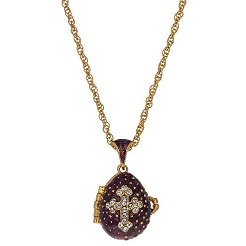 Crystal Cross on Purple Royal Russian Faberge Egg Pendant for sale  Delivered anywhere in Canada