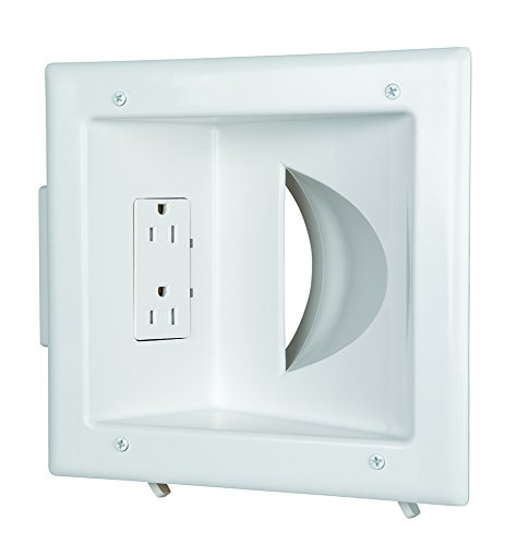 Low Plate Recessed Cable Voltage - Datacomm Electronics 45-0031-WH Recessed Low Voltage Media Plate with Duplex Receptacle - White