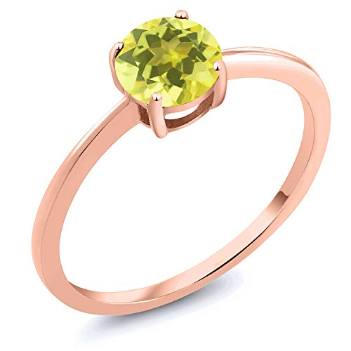 (Gem Stone King 10K Rose Gold 1.00 Ct Round Canary Mystic Topaz Solitaire Engagement Ring (Size 5))
