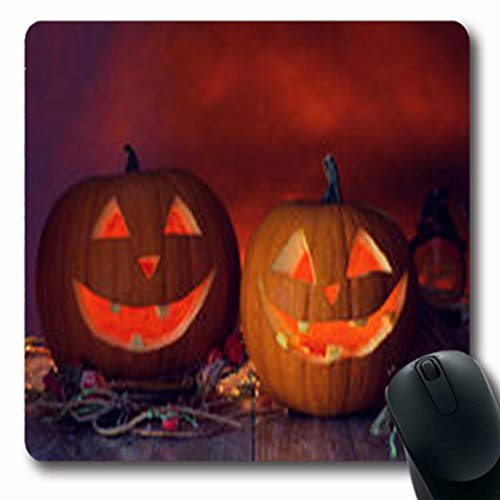 Pandarllin Mousepads Close Holidays Halloween Up Concept Pumpkins Oblong Shape 7.9 x 9.5 Inches Oblong Gaming Mouse Pad Non-Slip Rubber Mat