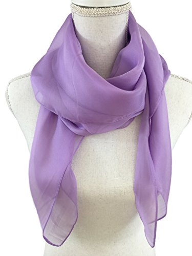 Solid Color Womens Chiffon Scarf, Shawl, Wrap. Beautiful and Simple Silk Feeling Fashion Accessories. (Orchid) by AY Designs
