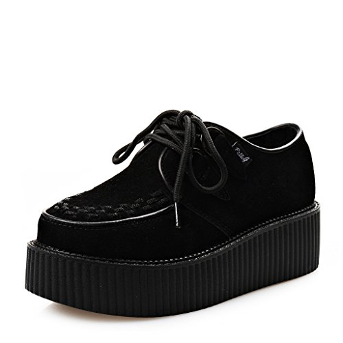 RoseG Femmes Creepers Cuir Lacets Platform Chaussures