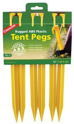 苦味たるみカードCoghlans 9312 12-inch 6ピースプラスチックテントStakes