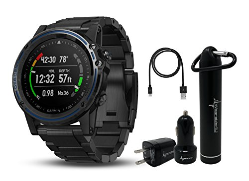 Garmin Descent MK1 Versatile Dive Computer with Surface GPS and Multisport Features and Wearable4U Ultimate Power Pack Bundle (Gray Sapphire with Titanium Band)