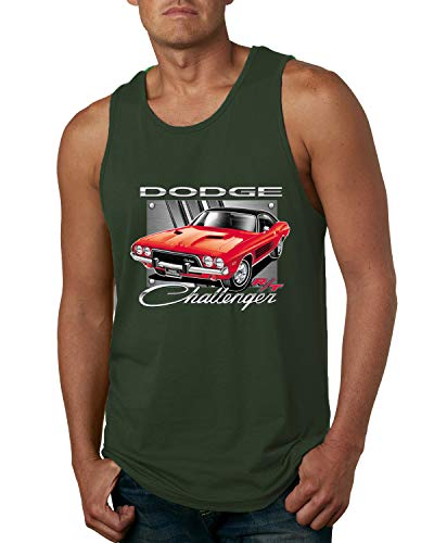 Dodge Challenger R/T Classic Licensed Retro | Mens Cars and Trucks Graphic Tank Top, Forest Green, 3XL