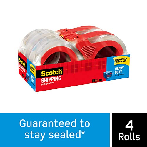 "Scotch Heavy Duty Shipping Packaging Tape, 4 Rolls with Dispensers, 1.88"" x 54.6 Yards, 3"" Core, Clear, Great for Packing, Shipping & Moving (3850-4RD)"
