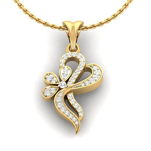 14K Or jaune 0,26CT TW Round-cut-diamond (IJ | SI) diamant Pendentif