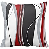 Wavy Vertical Stripes Red Black White and Grey Pillow Cover For Living Room, Sofa, Etc 18 x 18 Inches