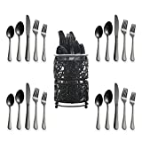 Berglander Stainless Steel Flatware Set 20 Piece With Titanium Black Gold Plated, Pack With A Classic Black Metal Basket, Service For 4 (Shiny Black)