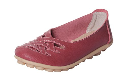 Flat Casual 10 Loafer Burgundy UJoowalk Shoes Hollow Out Women's Xw7UUHxq