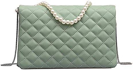 Bolso de perlas de moda pu cadena hombro colgado bolso verde