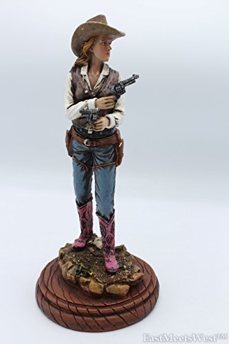 Hand Painted Wood Base - Western Cowgirl Shooting Double Pistols Statue on Wood Base Hand Painted Rustic Life-Like Detailed Home Office Decoration