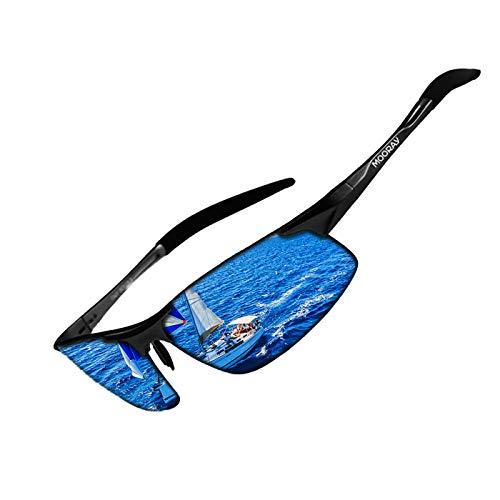 MOORAY Mens Sports Polarized Sunglasses UV Protection Fashion Sunglasses for Men Fishing Driving(Blue,Black)