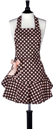Jessie Steele Bib Josephine Polka Dot Apron, Brown and Pink