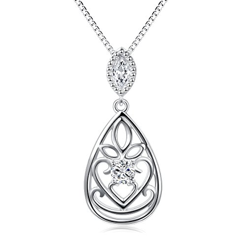 Inspirational Necklace 925 Sterling Silver Cz Filigree Om Lotus in Teardrop Pendant Necklace for Women Girls,18