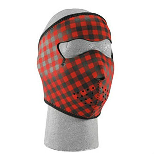 Buffalo Plaid Red Black Neoprene Full Face Mask Biker Paintball (Red Professional Paintball Mask)