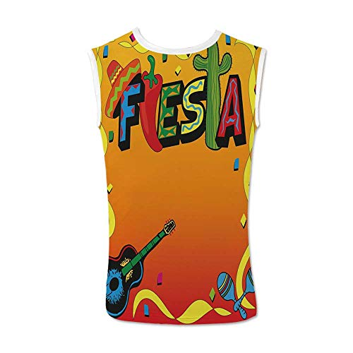 Fiesta Comfortable Tank Top,Latino Pattern with Swirled Stripe Frame with Musical Instruments Confetti Design for Men,M