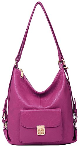 Fashion Handbags Daypack Shoulder for Casual New Bags Lady Leather Backpack Heshe Violet Women Z5wqfZP