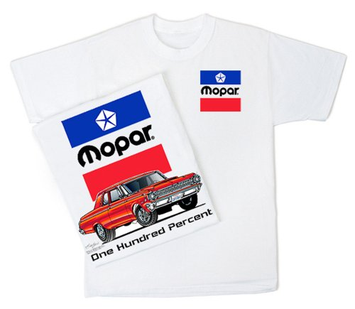 Car White Adult T-shirt - Mopar ONE HUNDRED PERCENT Adult White Classic Car T-shirt, XL