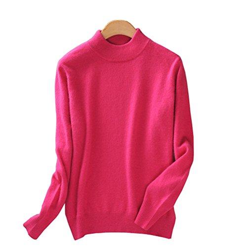- Always Pretty Women's Slim Mock Neck Wool Knit Jumper Sweater Tops Pullover Rose L