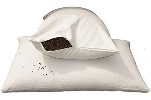 E4Emporium Organic Buckwheat Husk Pillow - Standard Size 19' x 29' - 100%...