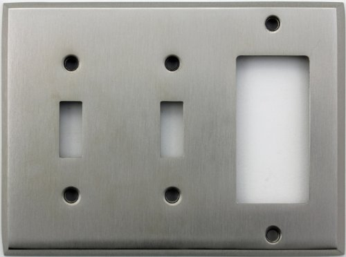 (Classic Accents Stamped Steel Satin Nickel Three Gang Wall Plate - Two Toggle Light Switch Openings One GFI/Rocker Opening)