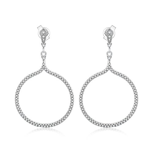 JewelryPalace Circular Shape Cubic Zirconia Drop Earrings 925 Sterling Silver Circular Cubic Zirconia Earrings