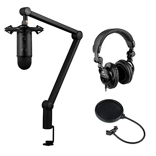 Blue Yeticaster Studio Bundle with Multi-Track Recording-Mastering Software (Blackout, Radius III shockmount, Compass broadcast boom arm), HPC-A30 Studio Headphones & Pop Filter Bundle