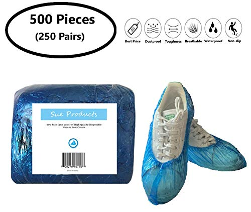 500 Pack (250 Pairs) of Blue Disposable Shoe & Boot Covers Overshoes Bulk indoor outdoor recycable non slip wholesale