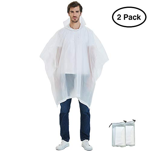 SweetFlash Unisex Rain Poncho for Adults, EVA Reusable Portable Raincoat with Drawstring Hood, Perfect for Theme Park, Hiking, Camping or Traveling (White 2 Pack)