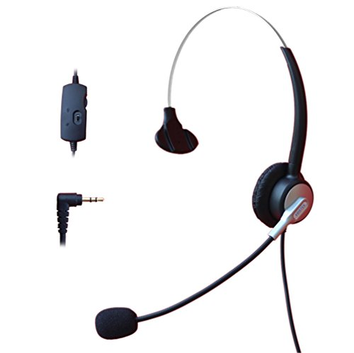 Comdio 2.5mm Call Center Headset Headphone with Mic + Volume Mute Controls for Panasonic KX-NT136 KX-NT343 KX-NT346 KX-NT366 KX-T7603 IP and Cordless Phones Telephone with 2.5mm Headset Jack (H303VP4) by Comdio