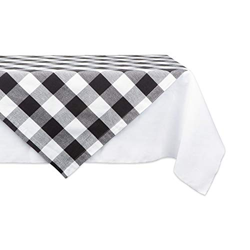 DII CAMZ11253 Cotton Buffalo Check Plaid Square Table Topper for Family Dinners or Gatherings, Indoor or Outdoor Parties, Everyday Use, 40x40, Black -