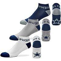 "Para Bare Feet ""Dinero no-show tobillo Calcetines 3Pack–Dallas Cowboys"