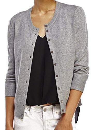 (Cable & Gauge Women's Button Front Cardigan Sweater (X-Large, Heather Grey))