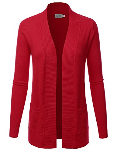 (LALABEE Women's Open Front Pockets Knit Long Sleeve Sweater Cardigan-RED-M)