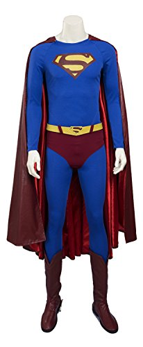 Mtxc Men's Superman Clark Kent Cosplay Costume Full Set Size Large Blue (Superman Cosplay Costume)