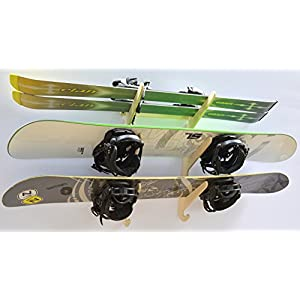 Snowboard Ski Hanging Wall Rack Holds 3 Boards
